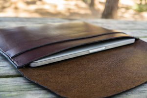 Personalized Leather MacBook Sleeves - Dark Brown-Galen Leather