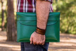 Personalized Leather MacBook Sleeves - Green-Galen Leather