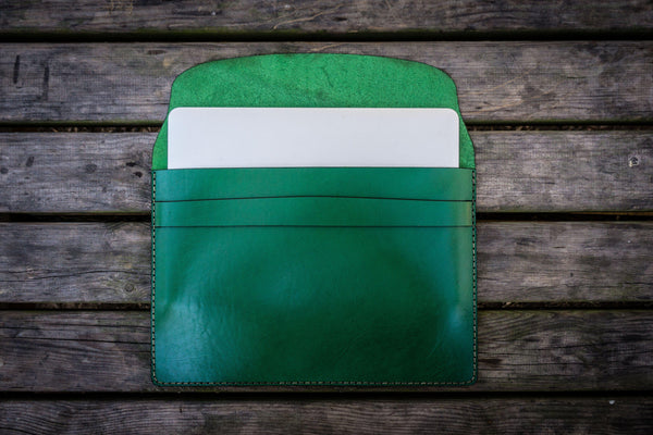 Personalized Leather MacBook Sleeves - Green