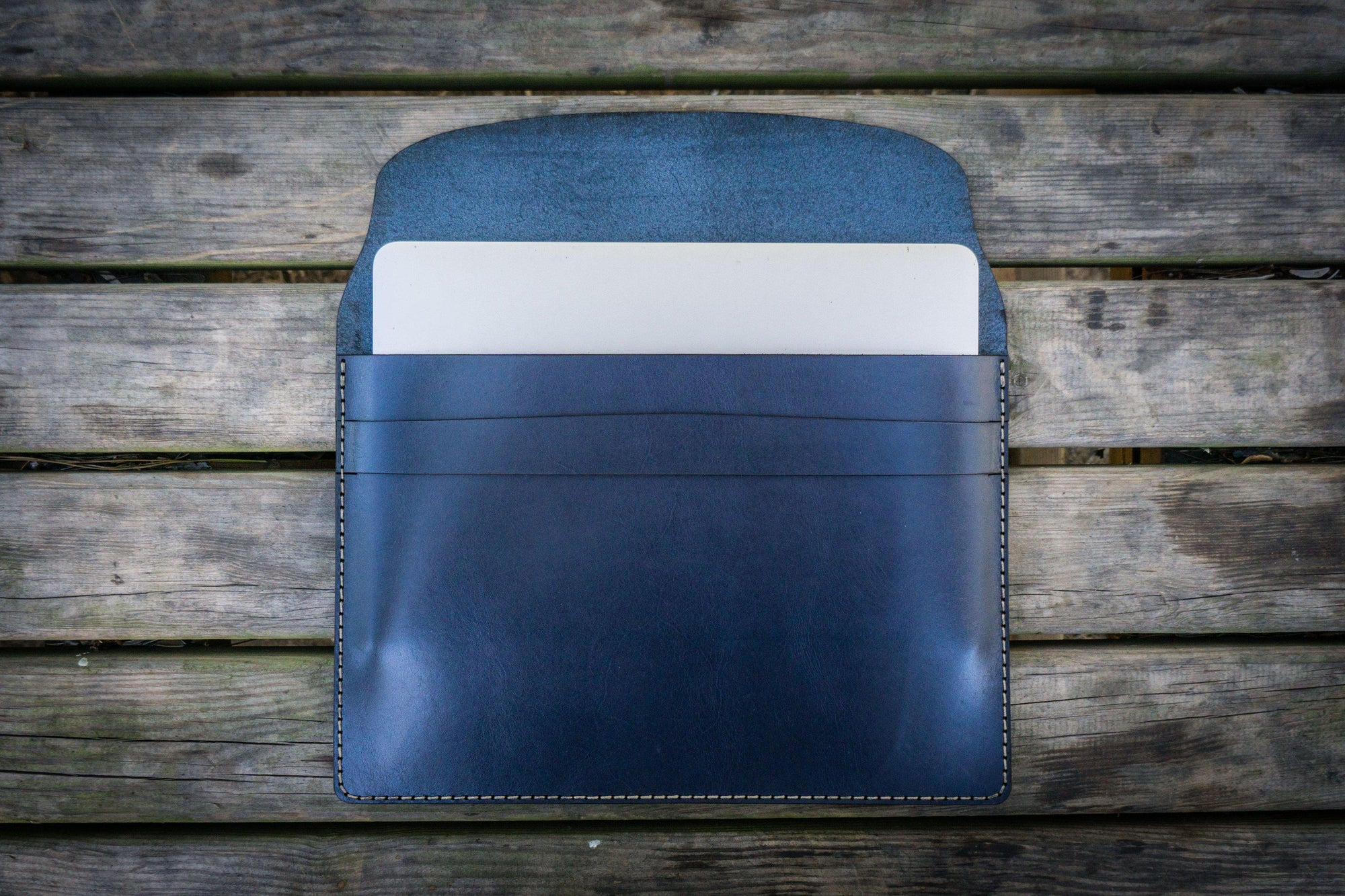 Personalized Leather MacBook Sleeves - Navy Blue - Galen Leather