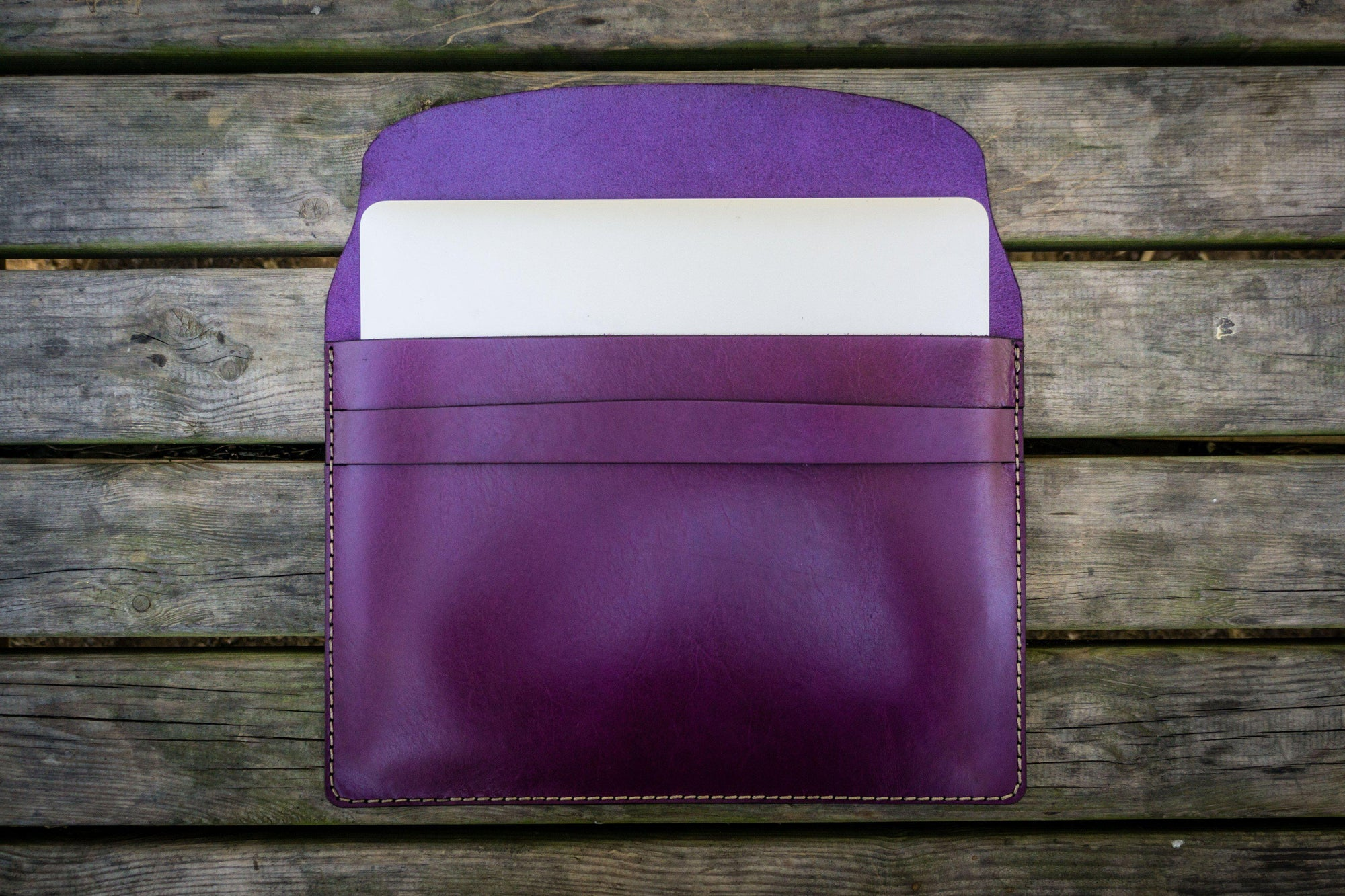 Personalized Leather MacBook Sleeves - Purple - Galen Leather