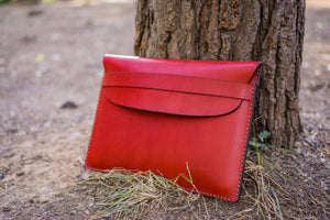 Personalized Leather MacBook Sleeves - Red-Galen Leather