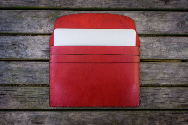 Personalized Leather MacBook Sleeves - Red