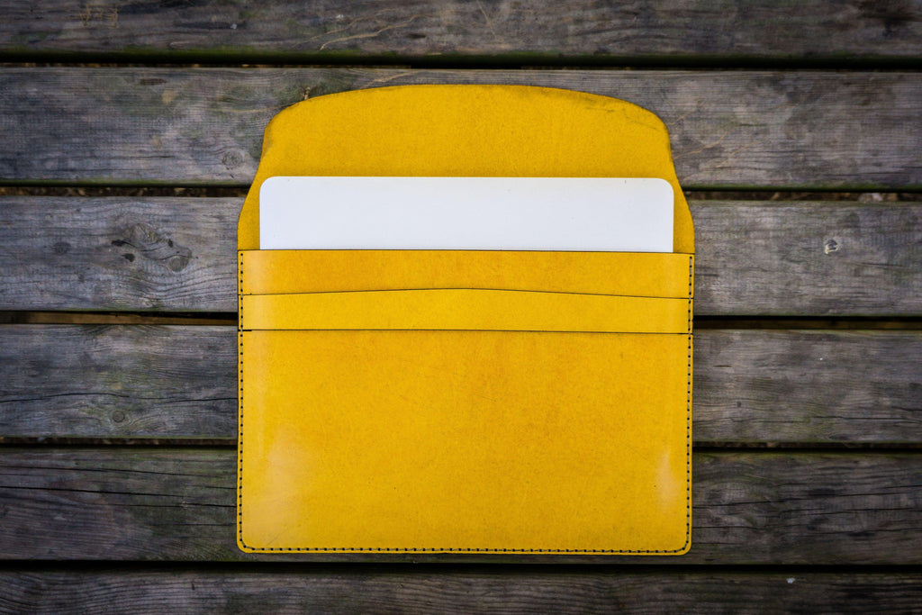 Personalized Leather MacBook Sleeves - Yellow-Galen Leather