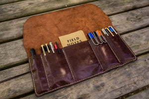 Personalized Leather Pen Roll - Brown-Galen Leather