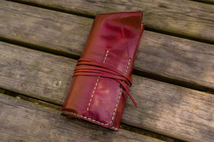 Personalized Leather Pen Roll - Red-Galen Leather