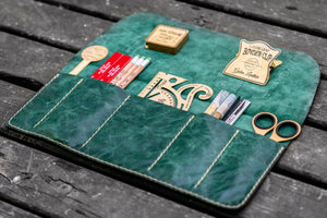 Personalized Leather Pen Roll - Rustic Green-Galen Leather