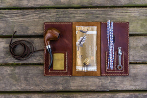 Personalized Leather Pipe Pouch/Pipe Roll - Brown-Galen Leather