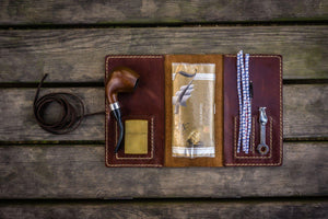 Personalized Leather Pipe Pouch/Pipe Roll -Brown - GalenLeather - 1