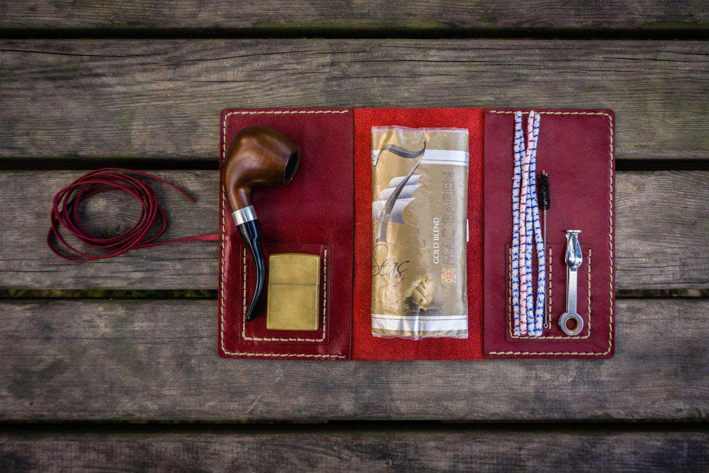 Personalized Leather Pipe Pouch/Pipe Roll - Red-Galen Leather