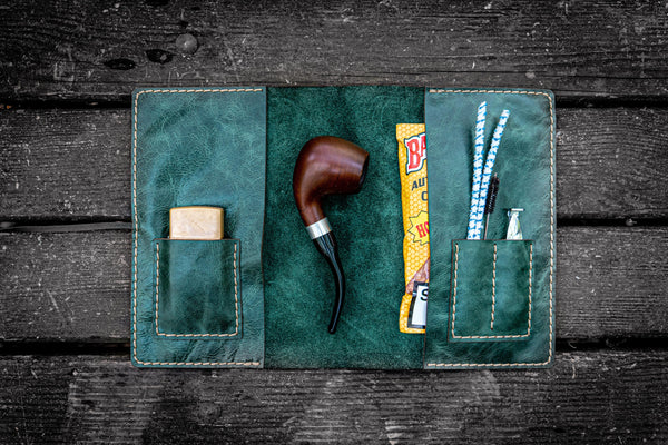 Personalized Leather Pipe Pouch/Pipe Roll - Rustic Green-Galen Leather