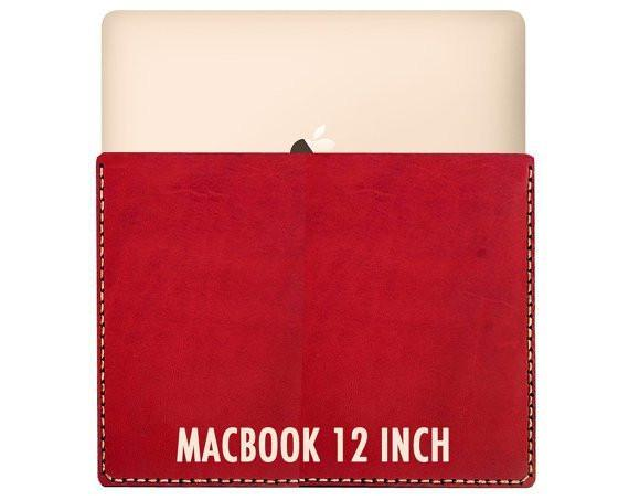 "Personalized MacBook 12"" leather sleeve - Multiple Color-Galen Leather"