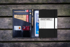 Refillable Leather Journal. Leuchtturm1917 A5 Cover - Black-Galen Leather