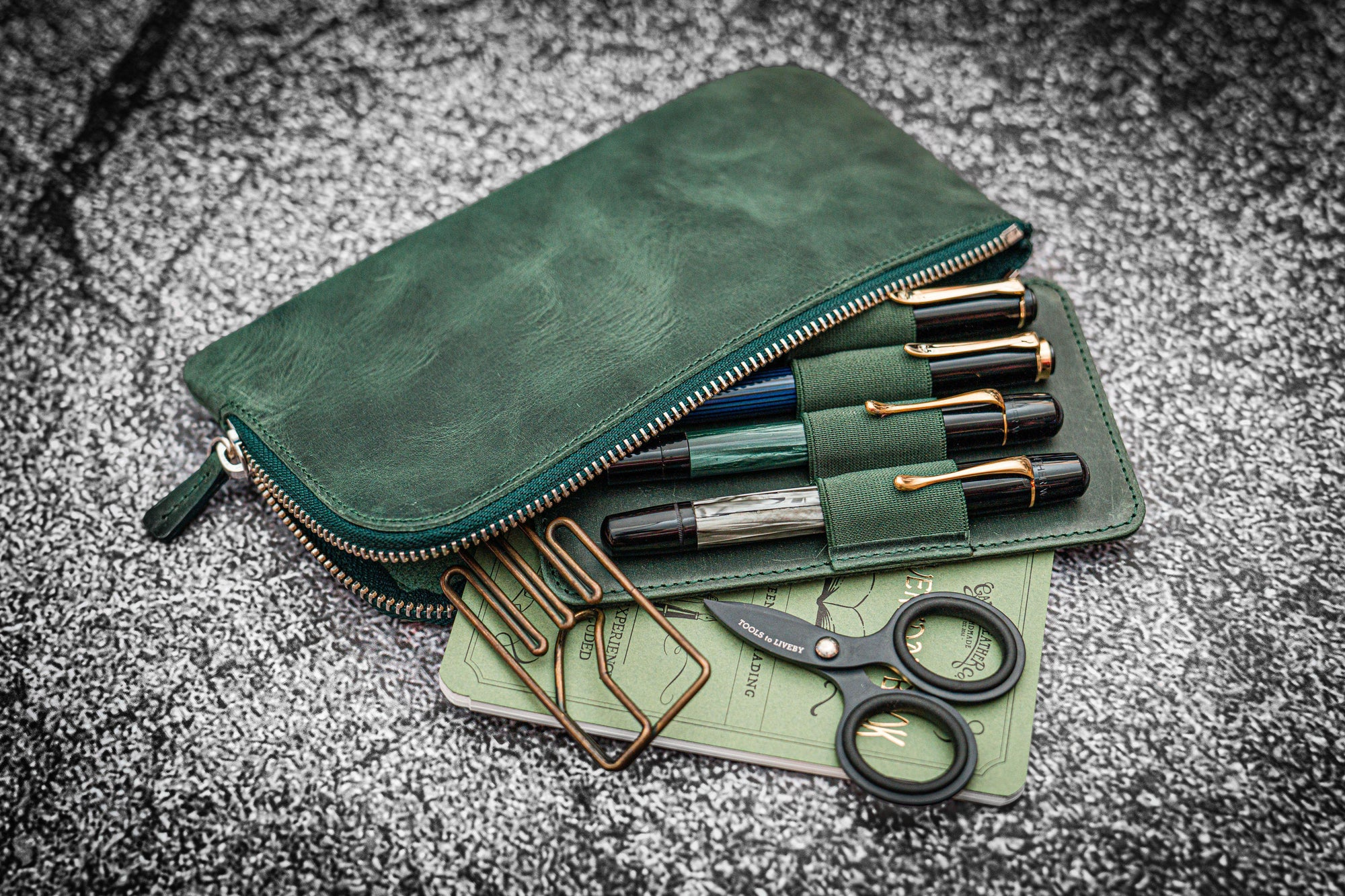 Slip-N-Zip 4 Slots Zippered Pen Pouch - Crazy Horse Forest Green-Galen Leather