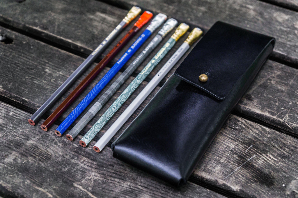 The Charcoal Leather Pencil Case for Blackwing Pencils - Black-Galen Leather