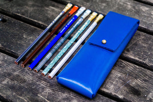 The Charcoal Leather Pencil Case for Blackwing Pencils - Blue-Galen Leather
