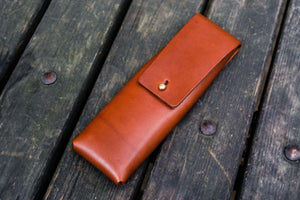 The Charcoal Leather Pencil Case for Blackwing Pencils - Brown-Galen Leather