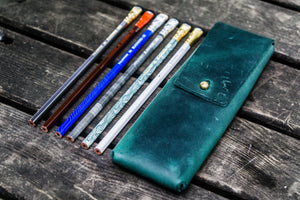 The Charcoal Leather Pencil Case for Blackwing Pencils - Crazy Horse Forest Green-Galen Leather