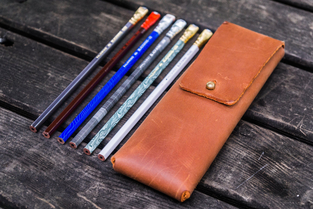 The Charcoal Leather Pencil Case for Blackwing Pencils - Crazy Horse Tan-Galen Leather