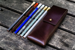 The Charcoal Leather Pencil Case for Blackwing Pencils - Dark Brown-Galen Leather