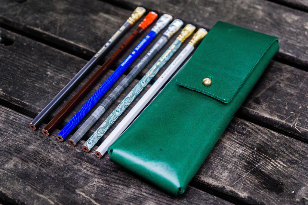 The Charcoal Leather Pencil Case for Blackwing Pencils - Green-Galen Leather