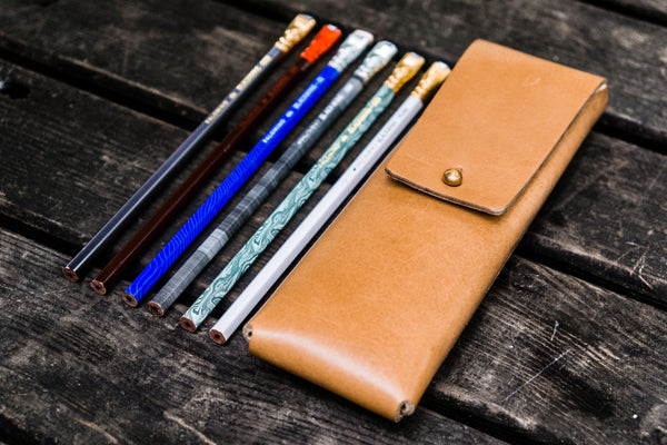 The Charcoal Leather Pencil Case for Blackwing Pencils - Natural-Galen Leather