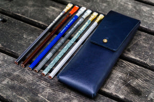 The Charcoal Leather Pencil Case for Blackwing Pencils - Navy Blue-Galen Leather