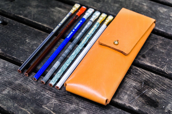 The Charcoal Leather Pencil Case for Blackwing Pencils - Orange-Galen Leather