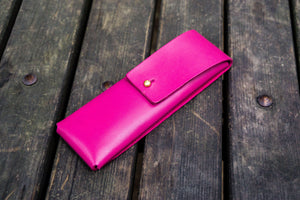 The Charcoal Leather Pencil Case for Blackwing Pencils - Pink-Galen Leather