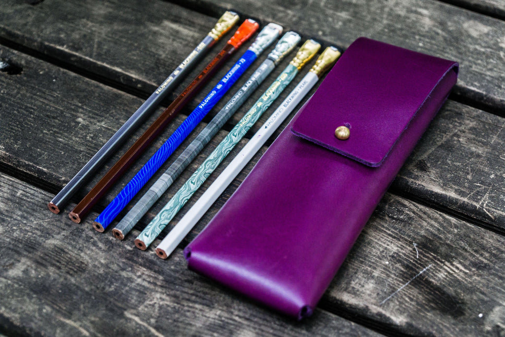 The Charcoal Leather Pencil Case for Blackwing Pencils - Purple-Galen Leather