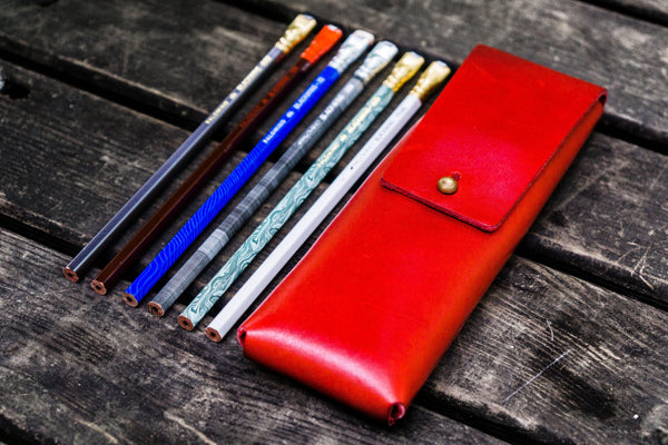 The Charcoal Leather Pencil Case for Blackwing Pencils - Red-Galen Leather