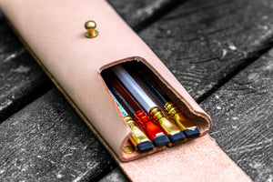 The Charcoal Leather Pencil Case for Blackwing Pencils - Undyed Leather-Galen Leather