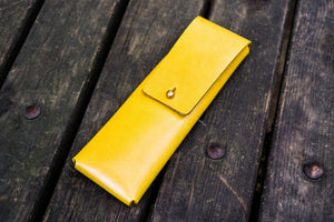 The Charcoal Leather Pencil Case for Blackwing Pencils - Yellow-Galen Leather