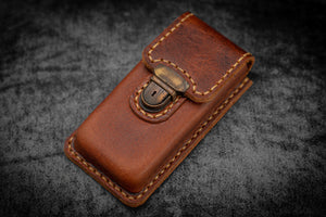 The Old School - Leather Molded Pen Case for 3 Pocket Pens - Distressed Leather-Galen Leather