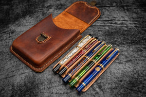 The Old School - Leather Molded Pen Case for 5 Pens - Distressed Leather-Galen Leather