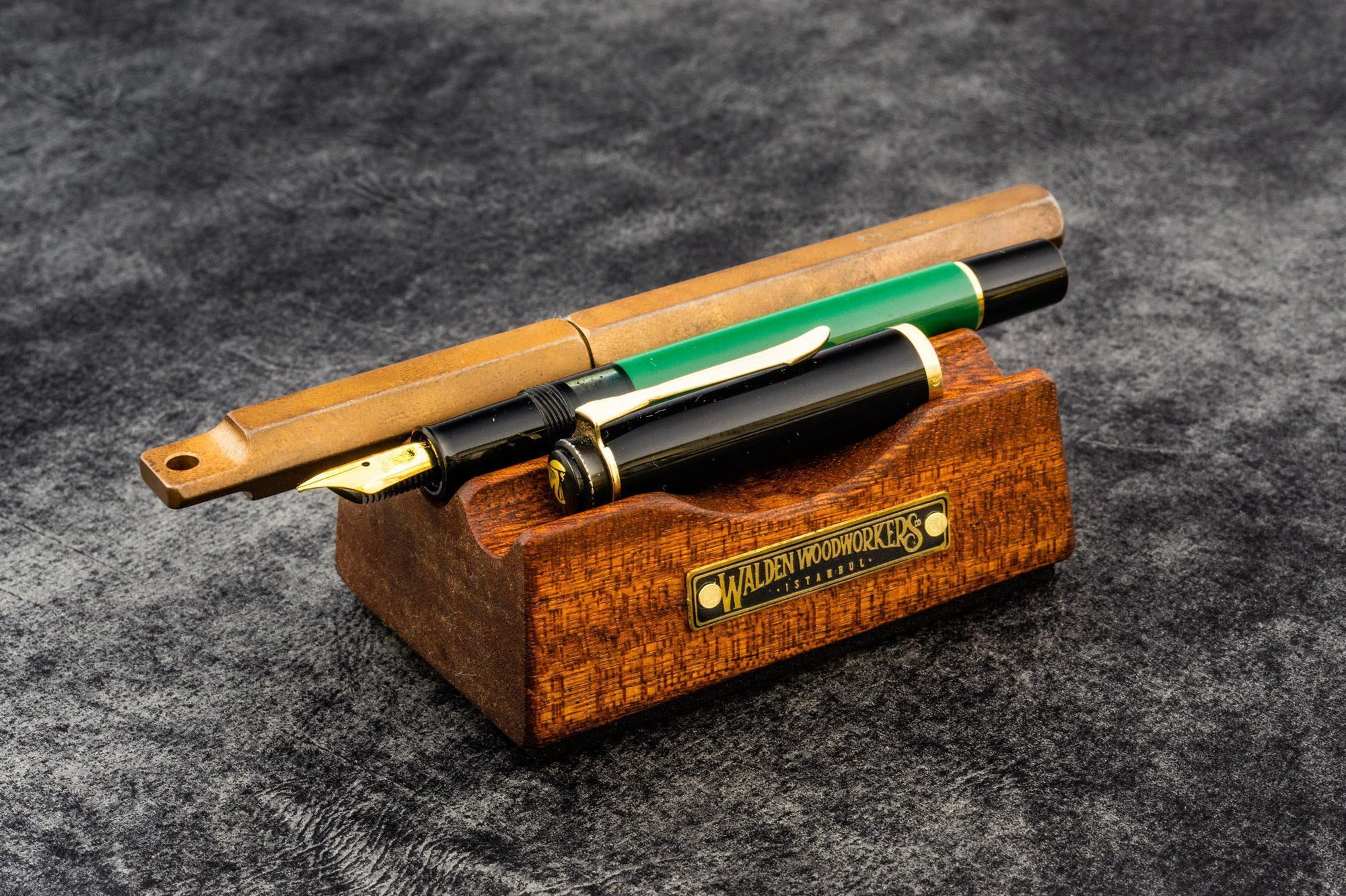 The Pen Rest Wooden Pen and Brush Stand - Mahogany-Galen Leather