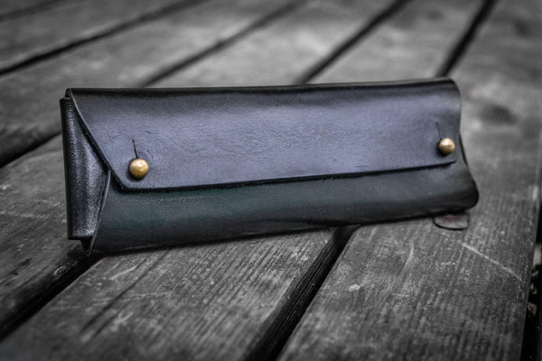 The Student Leather Pencil Case - Black-Galen Leather