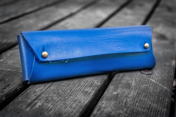 The Student Leather Pencil Case - Blue-Galen Leather