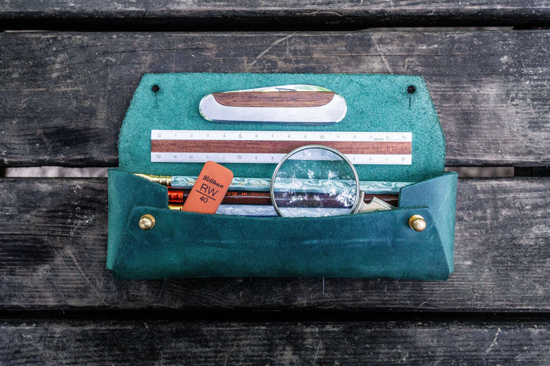 The Student Leather Pencil Case - Crazy Horse Forest Green-Galen Leather