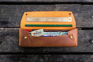 The Student Leather Pencil Case - Crazy Horse Tan-Galen Leather