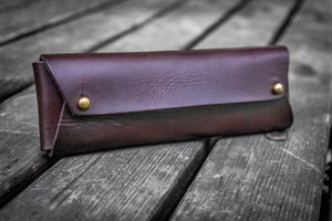 The Student Leather Pencil Case - Dark Brown-Galen Leather