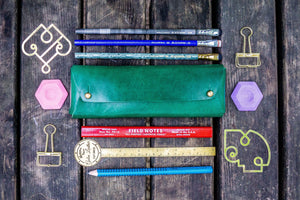 The Student Leather Pencil Case - Green-Galen Leather