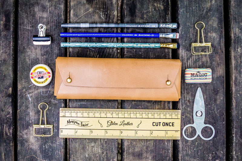 The Student Leather Pencil Case - Natural-Galen Leather