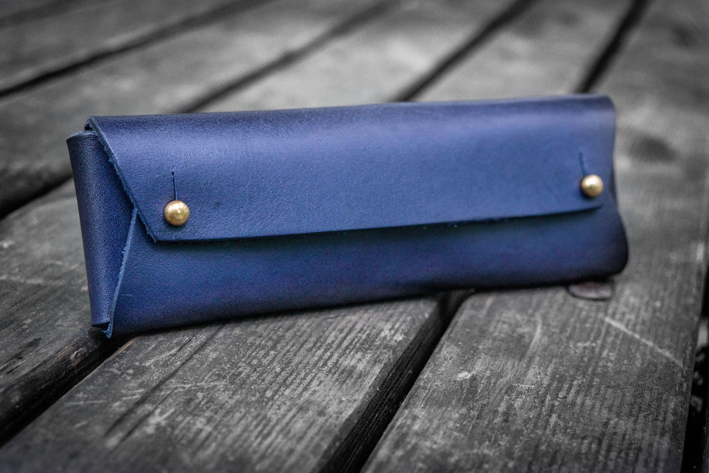 The Student Leather Pencil Case - Navy Blue-Galen Leather