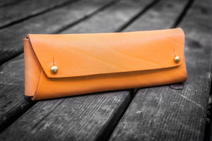 The Student Leather Pencil Case - Orange-Galen Leather