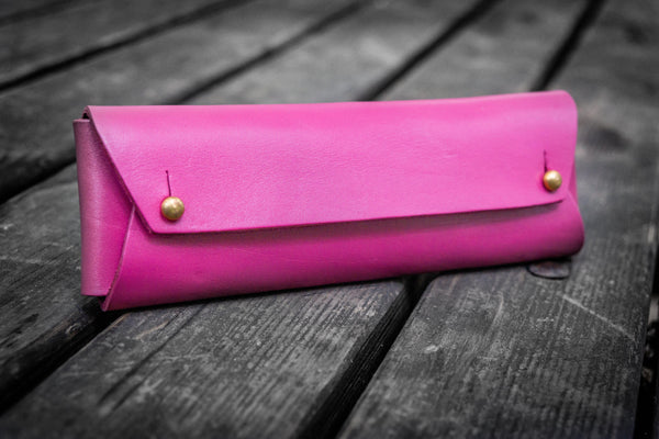 The Student Leather Pencil Case - Pink-Galen Leather