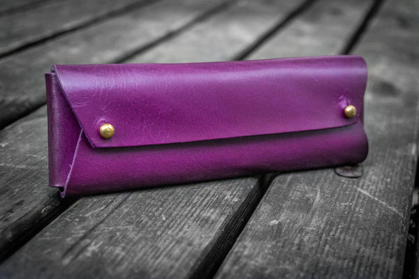 The Student Leather Pencil Case - Purple-Galen Leather