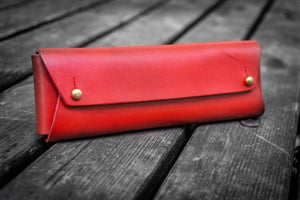 The Student Leather Pencil Case - Red-Galen Leather