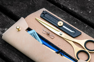 The Student Leather Pencil Case - Undyed Leather-Galen Leather