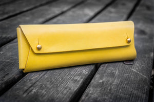 The Student Leather Pencil Case - Yellow-Galen Leather